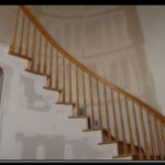 Sheetrock Installation Arched Ceiling and Spiral Staircase
